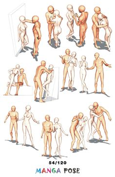 Tutorial Drawing Manga pose. Big posebook for manga anime character : Couple poses - Standing