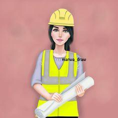 🛠 Cartoon Pics, Cute Cartoon Wallpapers, Girl Cartoon, Engineering Girls, Civil Engineering, Engineering Quotes, Image Girly, Engineer Cartoon, Ing Civil