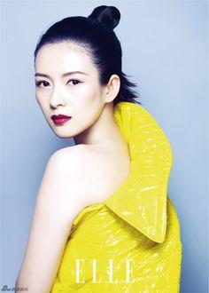Picture of Ziyi Zhang Bright Winter Outfits, Aquarius, Zhang Ziyi, Yellow Photography, Beautiful Dragon, Poses For Photos, Chinese Actress, Mellow Yellow, Deep