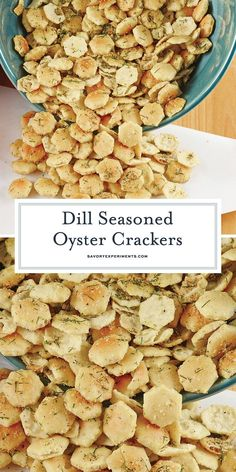 Dill Seasoned Oyster Crackers A Delicious Cracker For Soup is part of Crackers appetizers Dill Seasoned Oyster Crackers are the perfect snack, soup topper or salad crouton! They add an extra touch - Dill Oyster Cracker Recipe, Oyster Cracker Snack, Seasoned Oyster Crackers, Ranch Oyster Crackers, Dill Crackers Recipe, Seasoned Saltine Crackers, Dill Recipes, Snack Mix Recipes, Appetizer Recipes