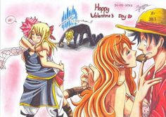 Luffy x Nami and Natsu x Lucy LuNa and NaLu  Coincidence? I think not. NaLu is obviously going to become cannon  So Oda please make LuNa CANNON  . . . . . . . . . . . . . . . . . . [HEAVY SPOILER DON'T READ IF YOU DON'T WANT A NALU SPOILER] Apparently the creator of Fairy tail said that Natsu and Lucy will end up together and will have a son named Nashi.
