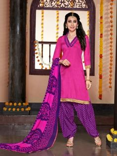 Pink Purple Glaze Cotton Elegant Patiala Salwar Kameez Designer salwar collection for Eid 2015 www.parisworld.in #Eid #salwar #parisworld