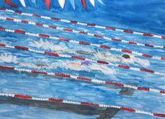 Watercolor Swim Race by Eileen McKenna. ( swimming, swim meet, swim team, swim race, pool, pools )