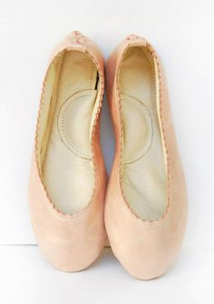 Rose gold pearly pink leather ballet flats custom made