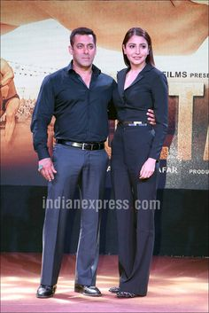 Salman Khan and Anushka Sharma at #Sultan trailer launch.