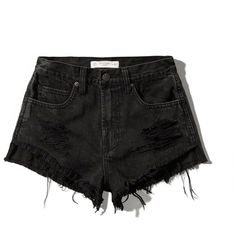 Abercrombie & Fitch High Rise Festival Short ($23) ❤ liked on Polyvore featuring shorts, bottoms, pants, short, black, cotton shorts, black cotton shorts, black shorts, high-waisted shorts and distressed shorts
