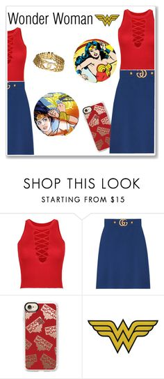 """""""Wonder Woman"""" by monique-joanne ❤ liked on Polyvore featuring WithChic, Gucci, Casetify, C&D Visionary, C. Wonder and Chanel"""