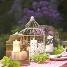Love using birdcages to hold candles! Great for an outdoor evening party