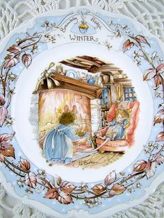Brambly Hedge plates by Royal Doulton. Oh my gosh! I had this when I was a little girl…and still have it now! Thats last over twenty years! Love it, Bramley Hedge will always make me think of mum. Beatrix Potter, Susan Wheeler, Brambly Hedge, Storybook Cottage, English China, Royal Doulton, Fine Porcelain, Hedges, Winter Holidays