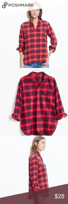 Madewell Flannel Cargo Workshirt Madewell Flannel Cargo Workshirt in Altamira plaid. Bright cherry red flannel in a size medium.  Minimal wash wear. Madewell Tops Button Down Shirts
