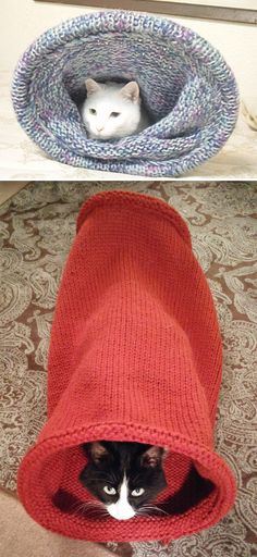 Free Knitting Pattern for Cat Tunnel - Long slouchy tunnel knit in the round with plastic tubing inserted to keep the mouth open. Size is easily customizable. Quick knit in super bulky yarn. The designer Clarice Asquith says the pattern is suitable for beginners who can knit in the round. Pictured projects by ShyFox777 and geepgal