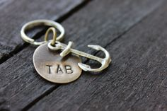 Anchor Keychain with Custom Initials on Natural Brass By Rustic Brand