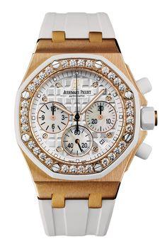 Audemars Piguet Royal Oak Offshore with Diamonds has a 37mm 18krg case with a white rubber case set with 32 brilliant-cut diamonds. It has a Méga Tapisserie pattern, diamond applied hour-markers, pink