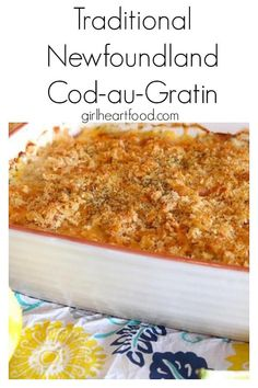 Cod au Gratin is a Newfoundland dish with the star ingredient being, of course, cod! There& a lovely little b& or white sauce covering the cod and then it& topped with cheese and breadcrumbs and all baked in the oven until it& nice, bubbly and brown. Fish Recipes, Seafood Recipes, Vegetarian Recipes, Cooking Recipes, Baked Cod Recipes, Rock Recipes, Recipes Dinner, Potato Recipes, Pasta Recipes