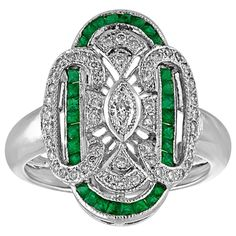 View this item and discover similar for sale at - Art Deco Revival Style Ring The ring is Whte Gold There are Carats in Diamonds G SI There are Carats in Emeralds. The ring is a size sizable Gold Diamond Rings, Emerald Diamond, Gold Rings, Fashion Rings, Engagement Rings, Gemstones, Jewelry, Style, Enagement Rings