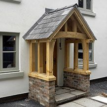 The wooden pergola is a good solution to add beauty to your garden. If you are not ready to spend thousands of dollars for building a cozy pergola then you may Porch Uk, House Front Porch, Cottage Porch, Front Porch Design, Cottage Exterior, Cottage Style, Cottage Art, French Cottage, Grey Window Frames