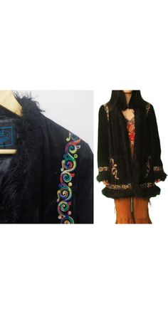 Steve Madden Suede Leather Penny Lane shearling Coat Jacket Black With Embroidery Vintage Boho, Retro; Size L, 3/4 Length, Faux Fur, Hook, embroidery coat  embroidered  sude leather  bohemian coat  faux fur boho retro  hippie hipster  victorian  renaissance  tribal  jacket  lana del rey  gypsy coat