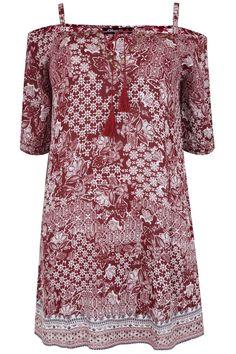 Burgundy & Ivory Mixed Tile Print Cold Shoulder Tassel Boho Dress
