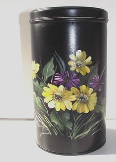 Hand Painted Tole Ware Canister w Yellow & Purple Flowers