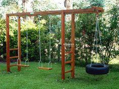 24 Ideas Backyard Swing Set Ideas Projects For 2019 Playground Swing Set, Backyard Swing Sets, Backyard Playset, Diy Swing, Backyard Playground, Backyard For Kids, Backyard Projects, Backyard Patio, Outdoor Play Areas