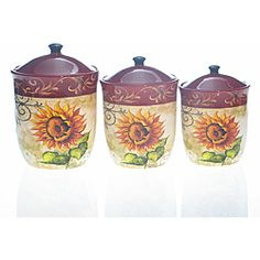 @Overstock - Keep your kitchen organized in classic style with these Tuscan sunflower canisters. This set includes three canisters in three different sizes.http://www.overstock.com/Home-Garden/Certified-International-Tuscan-Sunflower-3-piece-Canister-Set/6528186/product.html?CID=214117 $69.99