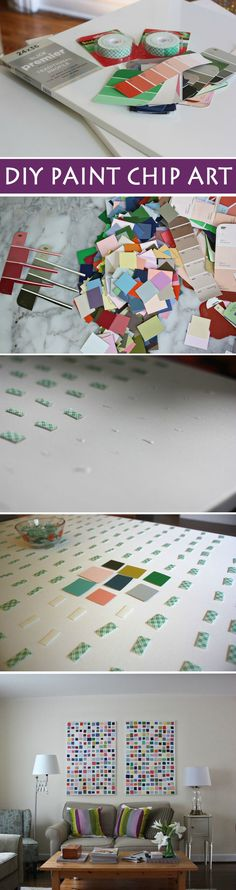 How to make paint chip art... it's easy and CHEAP! from @auntpeaches