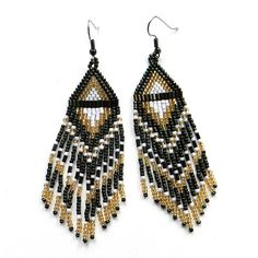 Long Native American  Seed Bead Earrings in dark by Anabel27shop,