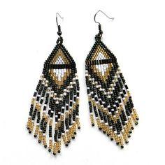 Long Native American  Seed Bead Earrings in dark by Anabel27shop,
