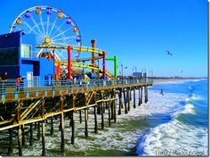 Our favorite pier! States In Usa, America And Canada, California Beach, Great Memories, Santa Monica, Travelling, Places To Visit, Bucket, Colour