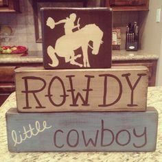 Wood blocks country rustic western cowboy baby