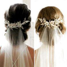 51 Ideas Hair Wedding Updo Veil Bridal Comb For 2019 Wedding Hair Flowers, Wedding Veils, Flowers In Hair, Hair Wedding, Wedding Makeup, Bridal Veils, Bridal Comb, Dress Wedding, Wedding Ceremony