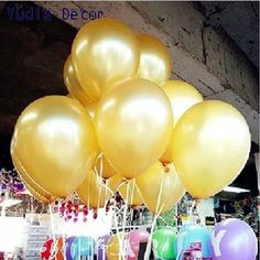 2016 New 10pcs/lot 12inch Gold latex balloon air balls inflatable wedding birthday party decoration Float balloons toys