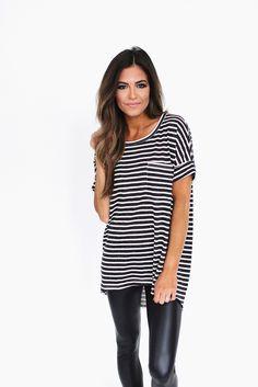 Striped Pocket Tee- Black - Dottie Couture Boutique