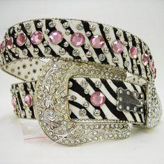 Zebra 'N Pink Rhinestone Cowgirl Belt