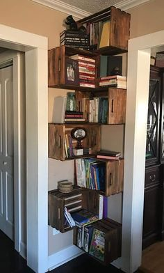 37 Corner Storage Options (Every Room Co. - 37 Corner Storage Options (Every Room Covered) - Crate Bookshelf, Bookshelf Ideas, Wood Crate Shelves, Hanging Bookshelves, Floor To Ceiling Bookshelves, Corner Bookshelves, Shelving Ideas, Wood Crate Diy, Bookshelves For Small Spaces