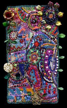 Spending the Day Musing on Life By creativechick  Painted fiber, beaded, embroidered, and embellished