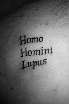 Homo Homini Lupus; Man is a wolf to man, popular Roman proverb by Plautus (died 184 B. C.)