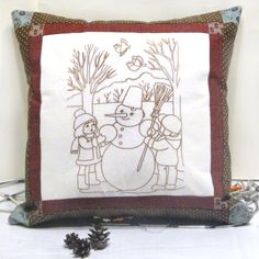 Snow decorative pillow Snowman Embroidered от LeatherBagsBackpacks