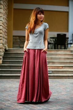 Linen Long Maxi Skirt Dark Pink Women Clothing by Boho Fashion, Fashion Outfits, Womens Fashion, Modest Outfits, Cute Outfits, Hobble Skirt, Long Maxi Skirts, Lovely Dresses, Couture