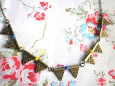 Chevrons in the Sky Antiqued Bronze Geometric Triangle by ihcharms