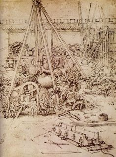 Leonardo da Vinci - Drawing depicting the casting of giant cannon 1503-04