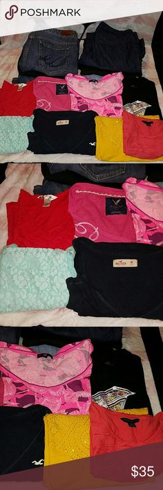 14pc Womens Medium 8 10 Clothing Bundle Shirts are medium and the pants/jeans are all either size 8 or 10. All brand names and all are in excellent condition.  Banana Republic Pink Short Sleeve Famous Stars & Straps Black  Hollister Navy Blue Long Sleeve Gap Bright Pink Short Sleeve American Eagle Long Sleeve Thermal Coldwater Creek Yellow Short Sleeve Olivia Moon Light Blue Tank Christopher & Banks Red Short Sleeve  Express Jeans The Limited Jeans NWT Gap Jeans Express Black Skirt NWT Ann…