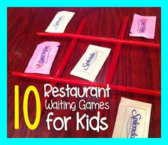 10 GAMES TO PLAY WHILE WAITING IN A RESTAURANT...also a link to 10 games to play while on an airplane, using items already found on the plane :)