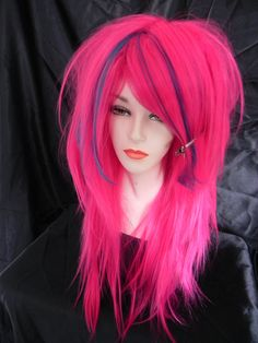 20 OFF SALE Hot Pink and Blue / Long Straight Layered by ExandOh, $64.00