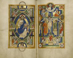 Depiction of Christ in Majesty (left), Crucifixion (right) from the Stammheim Missal, used at Hildesheim (Germany) in the 1170s. If you look on the bottom of f. 86r, you can observe a man treading...