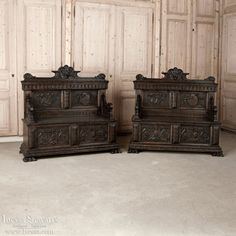Antique Furniture | Antique Trunks and Benches | Pair Italian Walnut Hall Benches | www.inessa.com