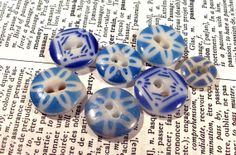 VINTAGE China Stencil BUTTONS Seven 7 Blue and White by punksrus, $12.50