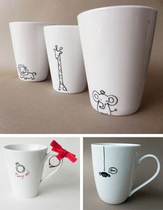Hand painted ceramic mugs. We love the ceramic cups and if how much simple they are, much better. Pottery Painting, Ceramic Painting, Diy Painting, Sharpie Designs, Mug Designs, Painted Mugs, Hand Painted Ceramics, Mug Noel, Diy Becher