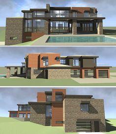 Love the large modern homes Modern Floor Plans, Contemporary House Plans, Modern House Plans, House Floor Plans, Amazing Architecture, Modern Architecture, Prairie Style Houses, Bungalow House Design, Dream Home Design