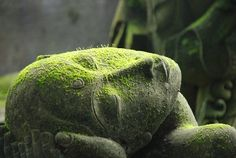 A moss covered stone statue with palms holding its broken head.